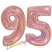 Zahl 95, holografisch, Rosegold, Luftballons aus Folie zum 95. Geburtstag, 100 cm, inklusive Helium