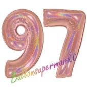 Zahl 97, holografisch, Rosegold, Luftballons aus Folie zum 97. Geburtstag, 100 cm, inklusive Helium