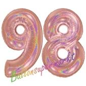 Zahl 98, holografisch, Rosegold, Luftballons aus Folie zum 98. Geburtstag, 100 cm, inklusive Helium
