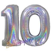 Zahl 10, Holografisch, Silber, Luftballons aus Folie zum 10. Geburtstag, 100 cm, inklusive Helium