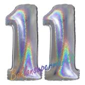 Zahl 11, Holografisch, Silber, Luftballons aus Folie zum 11. Geburtstag, 100 cm, inklusive Helium
