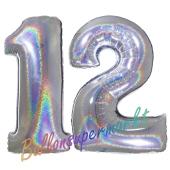 Zahl 12, Holografisch, Silber, Luftballons aus Folie zum 12. Geburtstag, 100 cm, inklusive Helium