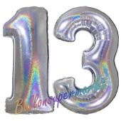 Zahl 13, Holografisch, Silber, Luftballons aus Folie zum 13. Geburtstag, 100 cm, inklusive Helium
