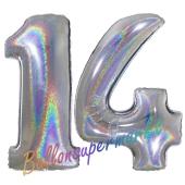 Zahl 14, Holografisch, Silber, Luftballons aus Folie zum 14. Geburtstag, 100 cm, inklusive Helium