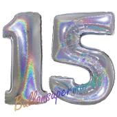 Zahl 15, Holografisch, Silber, Luftballons aus Folie zum 15. Geburtstag, 100 cm, inklusive Helium