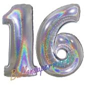 Zahl 16, holografisch, Silber, Luftballons aus Folie zum 16. Geburtstag, 100 cm, inklusive Helium