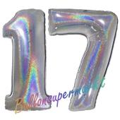 Zahl 17, Holografisch, Silber, Luftballons aus Folie zum 17. Geburtstag, 100 cm, inklusive Helium