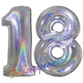 Zahl 18, holografisch, Silber, Luftballons aus Folie zum 18. Geburtstag, 100 cm, inklusive Helium