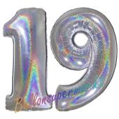 Zahl 19, Holografisch, Silber, Luftballons aus Folie zum 19. Geburtstag, 100 cm, inklusive Helium