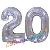 Zahl 20, Holografisch, Silber, Luftballons aus Folie zum 20. Geburtstag, 100 cm, inklusive Helium