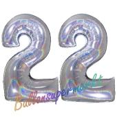 Zahl 22, Holografisch, Silber, Luftballons aus Folie zum 22. Geburtstag, 100 cm, inklusive Helium