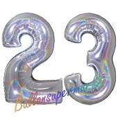 Zahl 23, Holografisch, Silber, Luftballons aus Folie zum 23. Geburtstag, 100 cm, inklusive Helium