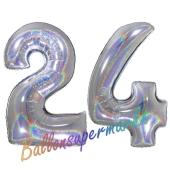 Zahl 24, Holografisch, Silber, Luftballons aus Folie zum 24. Geburtstag, 100 cm, inklusive Helium