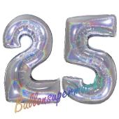 Zahl 25, Holografisch, Silber, Luftballons aus Folie zum 25. Geburtstag, 100 cm, inklusive Helium