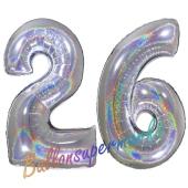 Zahl 26, Holografisch, Silber, Luftballons aus Folie zum 26. Geburtstag, 100 cm, inklusive Helium