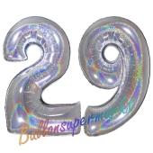 Zahl 29, Holografisch, Silber, Luftballons aus Folie zum 29. Geburtstag, 100 cm, inklusive Helium