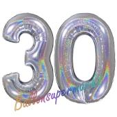 Zahl 30, holografisch, Silber, Luftballons aus Folie zum 30. Geburtstag, 100 cm, inklusive Helium