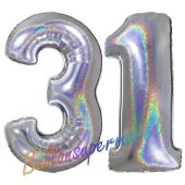 Zahl 31, Holografisch, Silber, Luftballons aus Folie zum 31. Geburtstag, 100 cm, inklusive Helium
