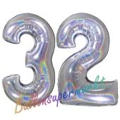 Zahl 32, Holografisch, Silber, Luftballons aus Folie zum 32. Geburtstag, 100 cm, inklusive Helium