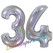 Zahl 34, Holografisch, Silber, Luftballons aus Folie zum 34. Geburtstag, 100 cm, inklusive Helium