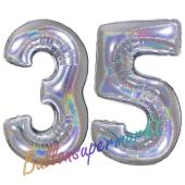 Zahl 35, Holografisch, Silber, Luftballons aus Folie zum 35. Geburtstag, 100 cm, inklusive Helium
