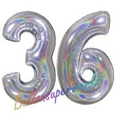 Zahl 36, Holografisch, Silber, Luftballons aus Folie zum 36. Geburtstag, 100 cm, inklusive Helium