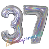 Zahl 37, Holografisch, Silber, Luftballons aus Folie zum 37. Geburtstag, 100 cm, inklusive Helium