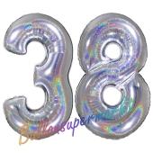 Zahl 38, Holografisch, Silber, Luftballons aus Folie zum 38. Geburtstag, 100 cm, inklusive Helium