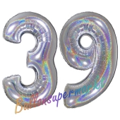 Zahl 39, Holografisch, Silber, Luftballons aus Folie zum 39. Geburtstag, 100 cm, inklusive Helium