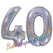 Zahl 40, holografisch, Silber, Luftballons aus Folie zum 40. Geburtstag