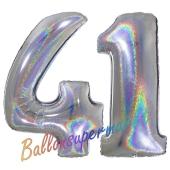 Zahl 41, Holografisch, Silber, Luftballons aus Folie zum 41. Geburtstag, 100 cm, inklusive Helium
