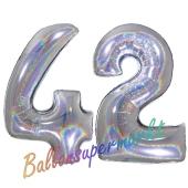 Zahl 42, Holografisch, Silber, Luftballons aus Folie zum 42. Geburtstag, 100 cm, inklusive Helium