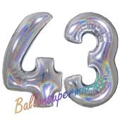 Zahl 43, Holografisch, Silber, Luftballons aus Folie zum 43. Geburtstag, 100 cm, inklusive Helium