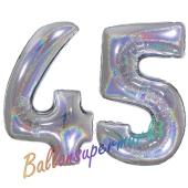 Zahl 45, Holografisch, Silber, Luftballons aus Folie zum 45. Geburtstag, 100 cm, inklusive Helium