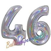 Zahl 46, Holografisch, Silber, Luftballons aus Folie zum 46. Geburtstag, 100 cm, inklusive Helium