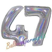Zahl 47, Holografisch, Silber, Luftballons aus Folie zum 47. Geburtstag, 100 cm, inklusive Helium