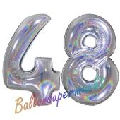 Zahl 48, Holografisch, Silber, Luftballons aus Folie zum 48. Geburtstag, 100 cm, inklusive Helium