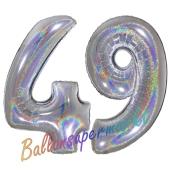 Zahl 49, Holografisch, Silber, Luftballons aus Folie zum 49. Geburtstag, 100 cm, inklusive Helium