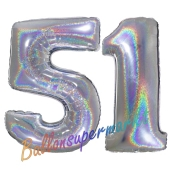 Zahl 51, Holografisch, Silber, Luftballons aus Folie zum 51. Geburtstag, 100 cm, inklusive Helium