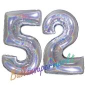 Zahl 52, Holografisch, Silber, Luftballons aus Folie zum 52. Geburtstag, 100 cm, inklusive Helium
