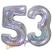 Zahl 53, Holografisch, Silber, Luftballons aus Folie zum 53. Geburtstag, 100 cm, inklusive Helium