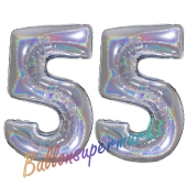 Zahl 55, Holografisch, Silber, Luftballons aus Folie zum 55. Geburtstag, 100 cm, inklusive Helium