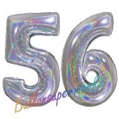 Zahl 56, Holografisch, Silber, Luftballons aus Folie zum 56. Geburtstag, 100 cm, inklusive Helium