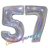 Zahl 57, Holografisch, Silber, Luftballons aus Folie zum 57. Geburtstag, 100 cm, inklusive Helium