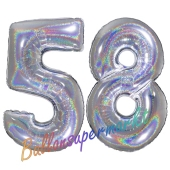 Zahl 58, Holografisch, Silber, Luftballons aus Folie zum 58. Geburtstag, 100 cm, inklusive Helium
