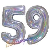 Zahl 59, Holografisch, Silber, Luftballons aus Folie zum 59. Geburtstag, 100 cm, inklusive Helium
