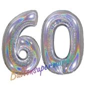 Zahl 60, holografisch, Silber, Luftballons aus Folie zum 60. Geburtstag, 100 cm, inklusive Helium