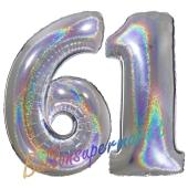 Zahl 61, holografisch, Silber, Luftballons aus Folie zum 61. Geburtstag, 100 cm, inklusive Helium