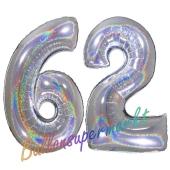Zahl 62, holografisch, Silber, Luftballons aus Folie zum 62. Geburtstag, 100 cm, inklusive Helium