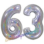 Zahl 63, holografisch, Silber, Luftballons aus Folie zum 63. Geburtstag, 100 cm, inklusive Helium
